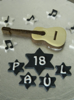 Acoustic Guitar Cake Topper, Music Notes Name & Number